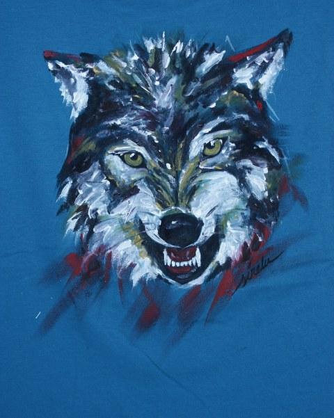 Lobo_camiseta pintada a mano
