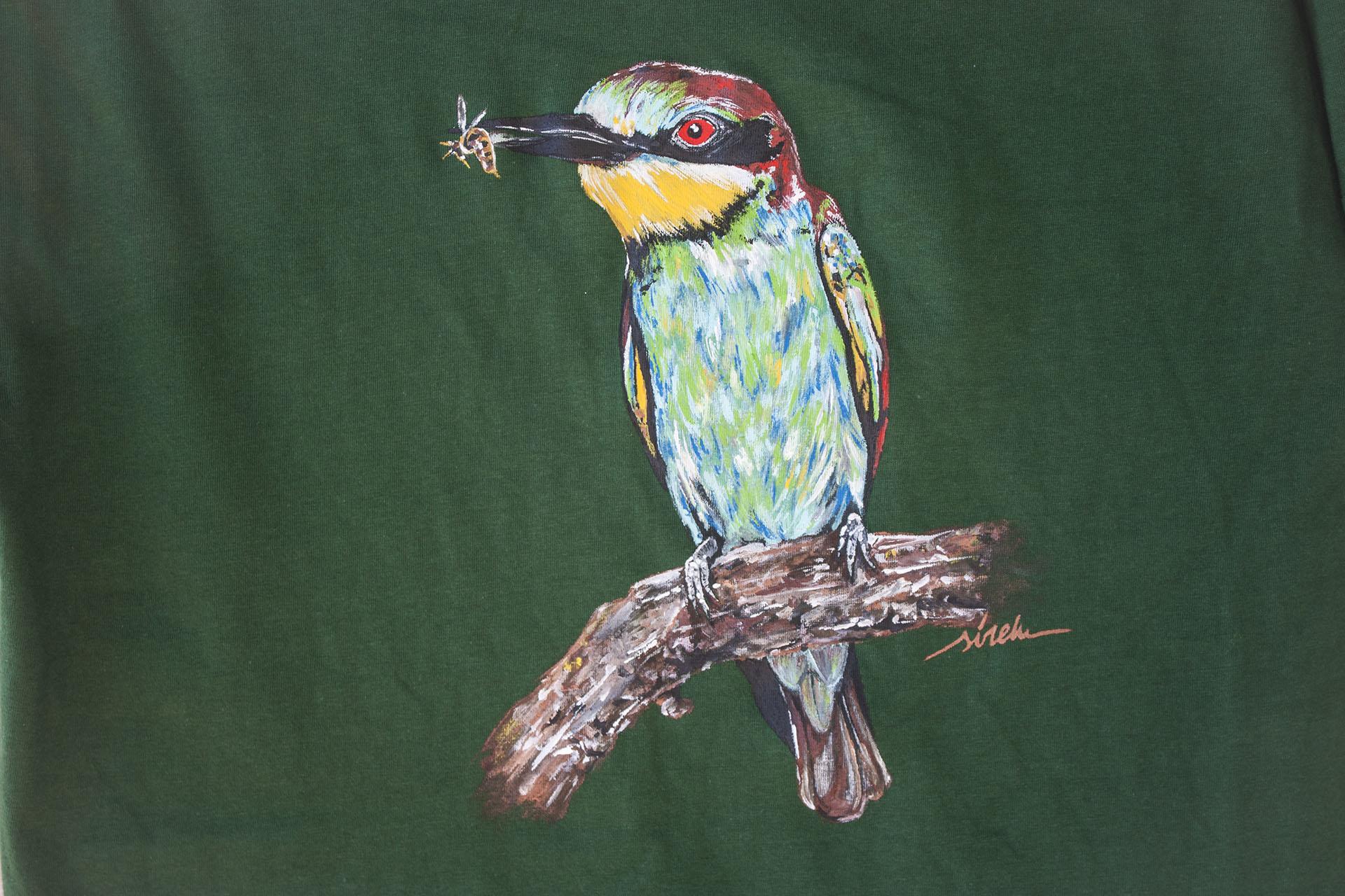 abejaruco_camiseta pintada a mano_sirem