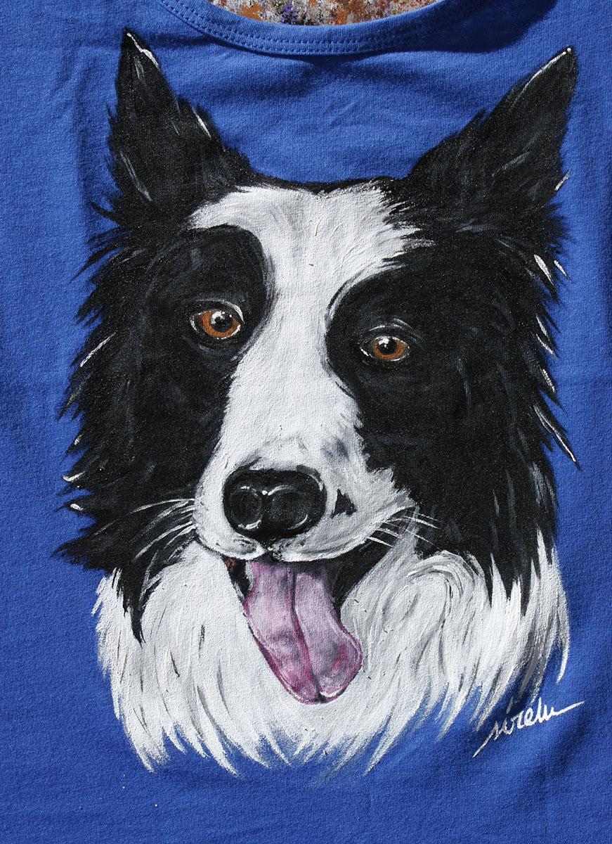 perro border collie_camiseta pintada a mano_sirem