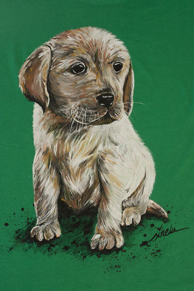 perro labrador cachorro_camiseta pintada a mano_sirem