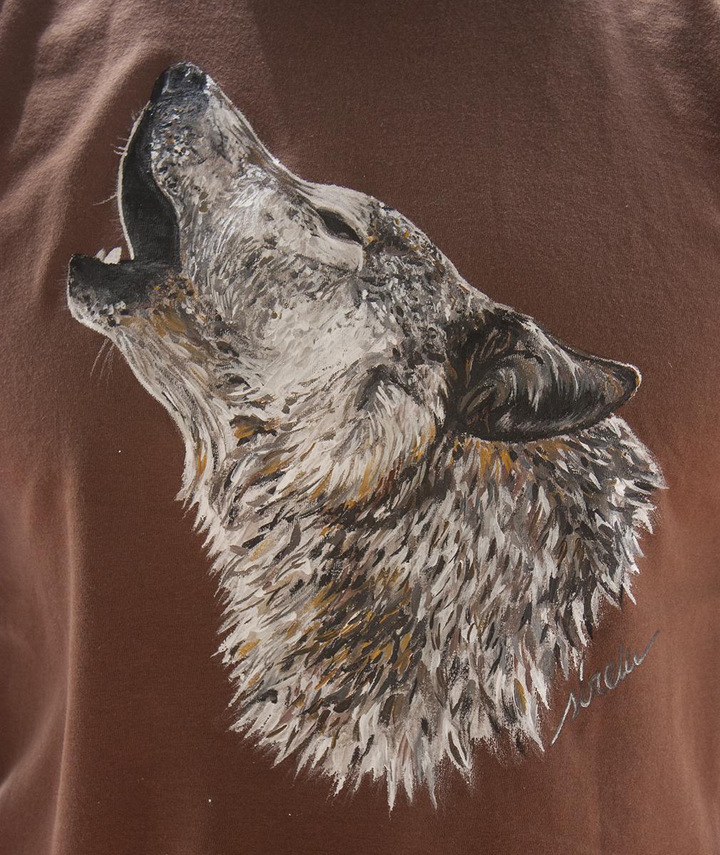 Lobo Aullando_camiseta pintada a mano